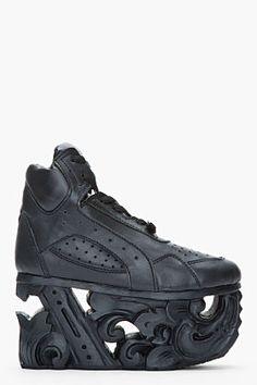 KTZ Black leather carved sole platform sneakers