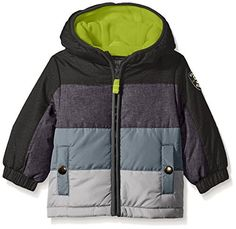(My review of Osh Kosh Baby Boys' Infant Classic Heavyweight Colorblock Puffer Coat) -  Classic heavyweight color block puffer coat with sleeve detail