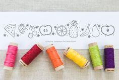 Stitch a colorful fruit border with this free hand embroidery pattern. The tiny fruits are perfect for summer!