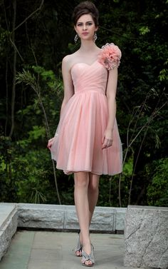 Peach One Shoulder Floral Embellished Prom/Ball/Cocktail Party Dress at0058 merpherl.com