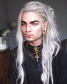 Nils Kuiper as King Cyran Ennala Boy With White Hair, Long White Hair, Nils Kuiper, Character Inspiration, Hair Inspiration, Hair Inspo, Pretty People, Beautiful People, Crazy Costumes
