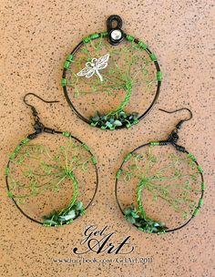 Custom Windswept Swirl dragonfly tree with matching earrings set.