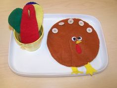 Fall Activity - Button the Feathers on the Turkey, easy to adapt for different seasons (i.e. decorating a tree, adding snowflakes, flower petals, etc)