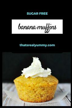 Delicious moist sugar free banana muffins - YUMMY Sugar Free Baking, Sugar Free Treats, Sugar Free Recipes, Paper Cupcake, Vanilla Yogurt, Healthy Treats, Baking Soda, Muffins, Banana