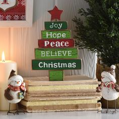 Our Wooden Block Christmas Tree Statue is everything you love about your festive Christmas tree in a smaller, rustic tabletop decoration. Place it anywhere to keep a festive feel throughout your home.