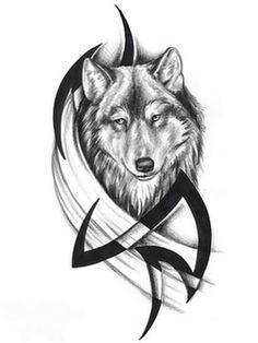 3e45ab7c153d0 Realistic Wolf Head With Tribal Design Black And White Tattoo Sample Tattoos,  Sketches, Animals