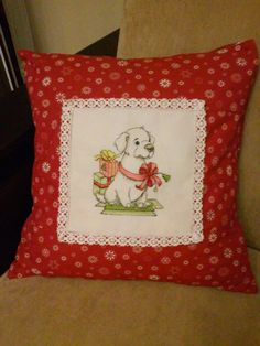 New Christmas patterns by Kseniya Adonyeva. What might be better than hand made pillow cover with such a adorable doggy? #crossstitch #pattern #christmas