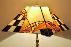 Tiffany style stained glass table lamp. by AmberGlassArt on Etsy