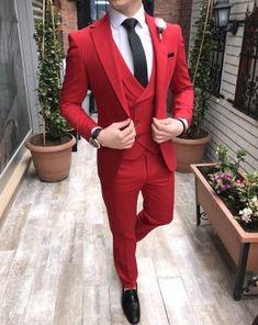 Terziademaltun - İtalyan stil erkek ceket yelek pantolon kırmızı takım elbise T2266 (1)