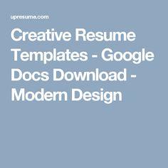 Creative Resume Templates - Google Docs Download - Modern Design