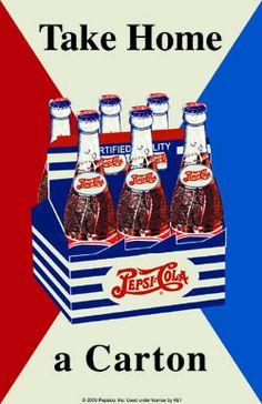 Pepsi Cola Take Home a Carton Game Room Retro Tin Sign Vintage Tin Signs, Vw Vintage, Vintage Bottles, Vintage Graphic, Pepsi Ad, Coca Cola, Diet Pepsi, Soda Fountain, New Sign