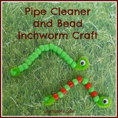 "1-14 ""i"" Pipe Cleaner and Bead Inchworm Craft from Craftulate"