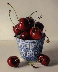 Cherries in Cup, 2010, oil on canvas by Karl Zipser