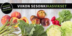 Sesonkikasvikset viikolle 19-20 #sesonkikasvikset #satokausikalenteri #kauppahalli24 #persikka #nektariini #retiisi #parsa #raparperi #keräkaali
