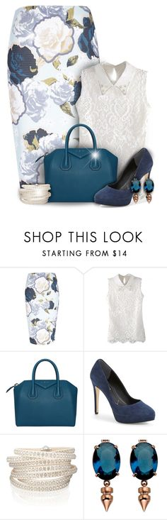 """""""Spring Rose Print Pencil Skirt Fashion"""" by superstylist ❤ liked on Polyvore featuring River Island, Givenchy, Charles by Charles David, Sif Jakobs Jewellery and Mawi"""