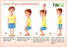 Chair Pose for yoga Utkatasana - 10 Amazing Yoga Poses for Your Kids to Keep Them Fit and Healthy Kids Yoga Poses, Easy Yoga Poses, Yoga For Kids, Exercise For Kids, Childrens Yoga, Top 10 Home Remedies, Chair Pose, Corpse Pose, Healthy Kids