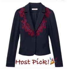 NWT Tory Burch Lisanne Navy Blazer NWT! Authentic Tory Burch Lisanne navy fitted blazer. One button closure. Size XS(best for a size 0 or 2). ***No Trades or PayPal**** Tory Burch Jackets & Coats Blazers