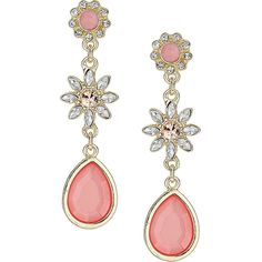 Dorothy Perkins Pink flower stone earrings ($9) ❤ liked on Polyvore featuring jewelry, earrings, pink, earring jewelry, pink flower earrings, pink drop earrings, blossom jewelry and pink earrings