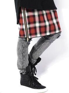 レッドチェック F (ジャックポート)JACK PORT ラグジュアリー 日本製 国産 シャツ風 サイドジップ 巻きスカート JKP19751010947