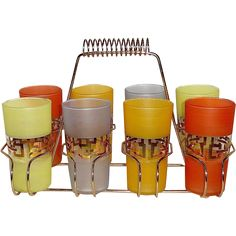 Set of 8 Mid-Century Modern Gold-Trim Drinking Glasses from Bejewelled Exclusively on Ruby Lane