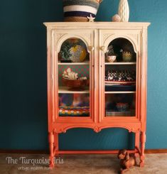 Orange Painted Furniture, Painted Chairs, Paint Furniture, Furniture Projects, Furniture Makeover, Cool Furniture, Furniture Design, Repurposed Furniture, Antique Furniture
