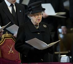 The Queen attends the funeral service of Baroness Thatcher at St Paul's Cathedral in London, 17 April 2013. © Press Association