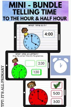 """Teaching your students to tell time to the hour and half hour is easy when done in steps! Students will read and determine the time on the analog clocks and digital clocks. Learning to tell time helps with children with their cognitive development as well as mathematically understanding. After my students practice working with the analog clock and moving the hour hand, they rarely ask me, """"what time is it?""""!"""