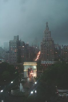 NYC. Washington Square Park at dusk