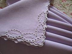 Vintage Antique Napkins Lavender Linen White Eyelets Set 8. $18.00, via Etsy.