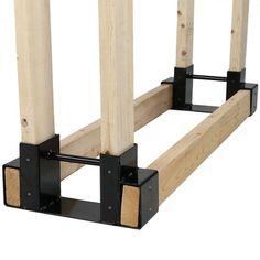 Sunnydaze Decor Steel Firewood Log Rack Bracket Kit - Adjustable to Any Length, Black Outdoor Firewood Rack, Firewood Holder, Firewood Logs, Firewood Storage, Outdoor Storage, Storage Racks, Small Pergola, Diy Fireplace, Fireplace Cover