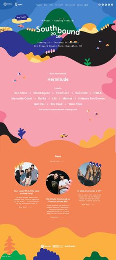 Site of the day: Southbound by Monk http://mindsparklemag.com/website/southbound/ #siteoftheday #webdesign Southbound festival design play playful color colorful webdesign website inspiration beautiful kids children new modern simple clean by Monk site of the day award awwwards inspiration designblog mindsparkle mag www.mindsparklemag.com