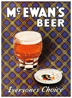McEwans Beer, Everyones Choice, advert for the Scottish beer with a tartan background Beer Advertisement, Golf Room, Vintage Ads, Whisky, Tartan, Scotland, Alcoholic Drinks, Wall, 1950s