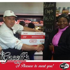 Congratulations to our winner of the Vuyo's Wors competition at Greeff's Inyama. We hope you enjoy your prize, a beautiful Defy microwave oven. Meat Markets, Microwave Oven, Competition, Congratulations, Chips, Beautiful, Potato Chip, Microwave, Microwave Cabinet