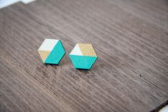 Simply beautiful gold & turquoise hexagonal laser cut wooden earrings are lightweight and perfect for everyday wear. The colors are all acrylic and