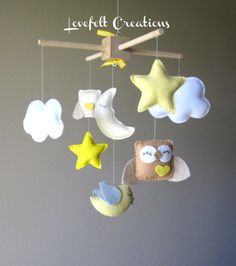 Baby Mobile Cloud Mobile Yellow Mobile by lovefeltmobiles