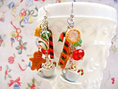 Gingerbread Christmas Earrings Polymer Clay Charm by Sweetystuff, £25.00