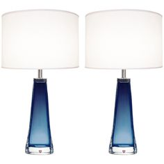 Pair of blue glass lamps with thick clear casing and nickel hardware by Nils Landberg for Oreffors.  Sweden - 1960's
