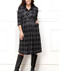 Another great find on #zulily! Charcoal & Black Diamond Shirt Dress - Plus #zulilyfinds