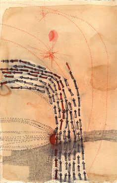 "Misato Suzuki: ""Unidos Arrows""  2006 11"" x 8.5""  Watercolor, Ink and Coffee on Paper"