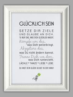 """Original print – """"BE HAPPY"""" art print – a unique design of Smart-Art -… - Home Page The Words, Cool Words, German Quotes, Happy Art, Slogan, Quotations, Life Quotes, Funny, Wisdom"""