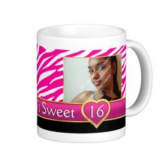 Hot pink zebra print glam Sweet Sixteen birthday Coffee Mug