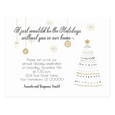 Black and Gold Stylized Holiday Party Invite | Postcard - save the date gifts personalize diy cyo