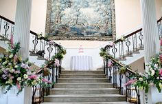 Scorrier house wedding, country garland, stair decoration by www.weddingflowersincornwall.co.uk