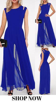 1c370e436b4 USD33.53 Royal Blue High Waist Round Neck Jumpsuit