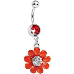 Red Gem Crystal Petal Power Flower Dangle Belly Ring ❤ liked on Polyvore featuring jewelry, rings, navel rings, crystal flower ring, red ring, belly button rings and flower rings