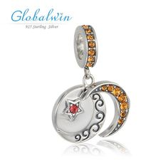 moon and star crystal 925 sterling silver european style charms for snake chain bracelet genuine official brand beads charm s391