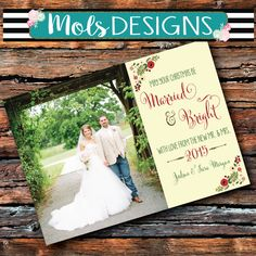 CHRISTMAS Card MARRIED & Bright Happy New Year Wishes Vintage Red Green Floral Photo Glitter Chalkboard Wedding Bridal Shower Invitation