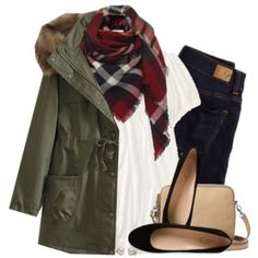 Lace peasant top, checked scarf & army green parka