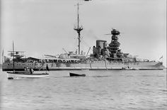 Late 1920s picture of 15 in Queen Elizabeth class battleship HMS Valiant after her first significant modernisation, which trucked her two funnels into one. Further updates in the 1930s to Valiant and her 3 sisters Warspite and 'QE' herself left them looking very different, with a new 'box' bridge structure, but the remaining 2 ships of the class (Barham and Malaya) never received these, and entered WW2 looking much as this.