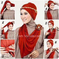 Tutorial Kreasi Hijab Pashmina Bahan Kaos - Dorie Shop